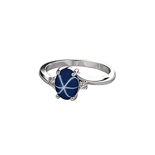 Cornflower Blue Star Sapphire Sterling Silver Ring with Sapphire Accents
