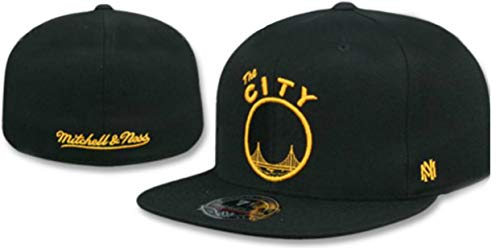 Mitchell & Ness Golden State Warriors Fitted Size 7 3/8 Full Team Logo HWC Side Patch Hat Cap - Black