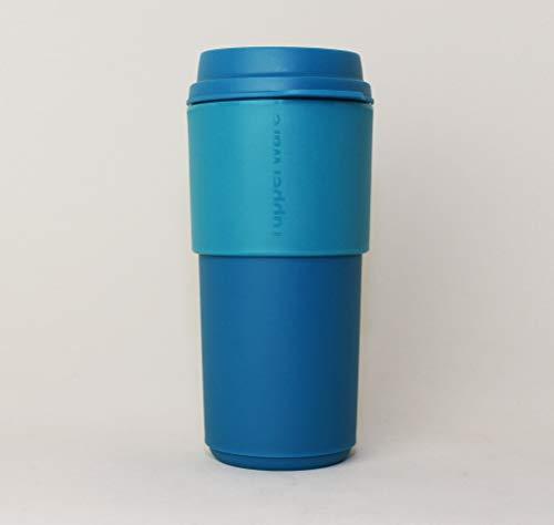 TUPPERWARE Kaffeebecher to go blau 490ml, Permanent Kaffee Becher, Unterwegs + Hängelöffel Türkis