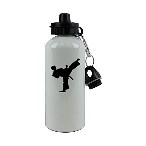 Personalized Custom Karate Aluminum White 20-Ounce 600ML Sport Water Bottle, 2 Lids, Customizable (Black)