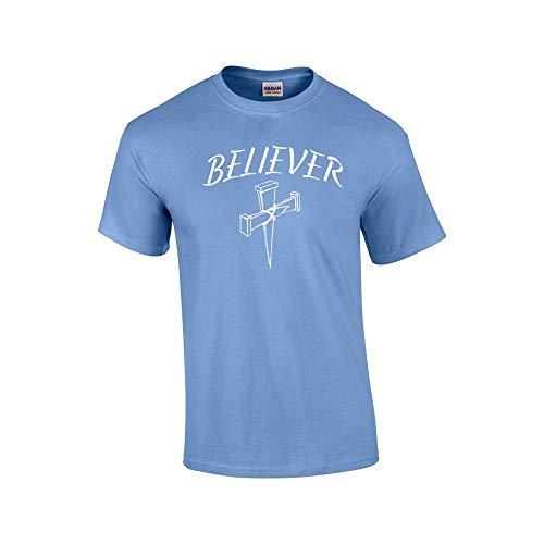 Camiseta cristã Believer with Cross, Carolina Blue, XX-Large