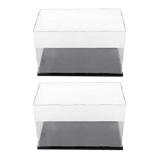 F Fityle 2 Juegos 10x6x6 Vitrina de Acrílico Transparente Caja Modelo Ensamblada a Prueba de Polvo