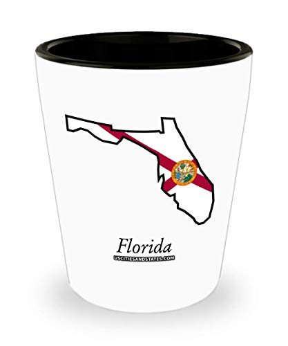 Florida Outline With Flag Design - Shot Glass
