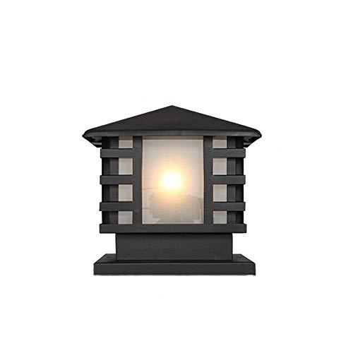 FENGLIAN Outdoor Retro Column Lamp E27 Waterproof Antique Vintage Post Bollard Light Red Rust Aluminum Metal External Community Villa Patio Pillar Lantern Garden Fence Landscape Table Lamp