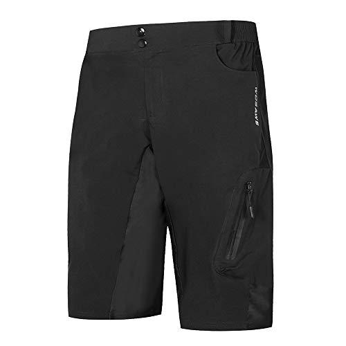 Lixada Pantalones Cortos de Ciclo Holgados de Hombres, Transpirables Sueltos, para MTB de los Deportes al Aire Libre (Negro-1, M)