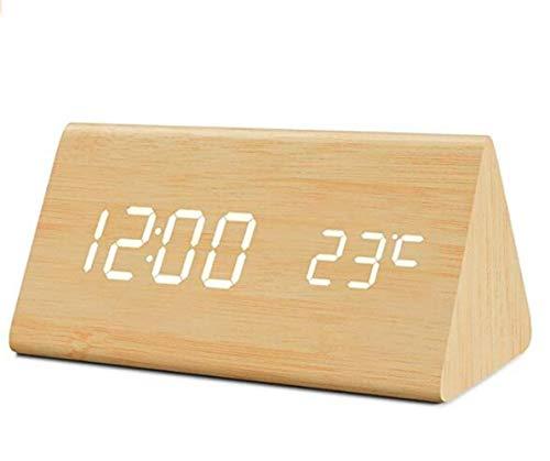 Trayosin LED Dreieck-Wecker Uhr in Holzoptik Digital mit Datum/Temperatur-USB-Aufladung und Akkuladung
