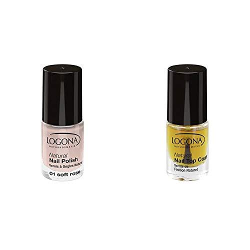 LOGONA Naturkosmetik Natural Nail Polish, Nagellack No. 01 Soft Rose, mit leichtem Schimmer, 4 ml & Natural Nail Top Coat, Überlack für Nagellacke, Natürliche Inhaltsstoffe, 4ml