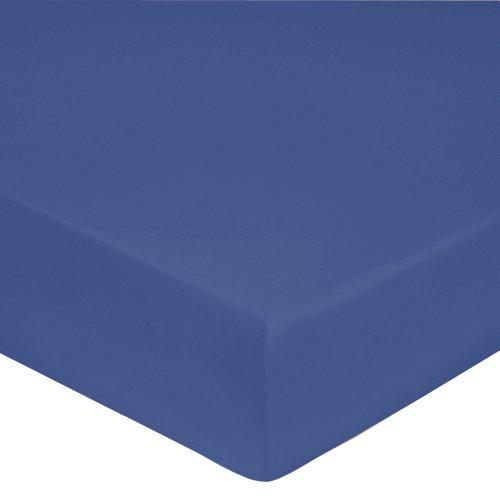 Blanc des Vosges Uni Percale Drap housse Coton Bleu Royal 120 x 190 cm Bonnet de 30 cm
