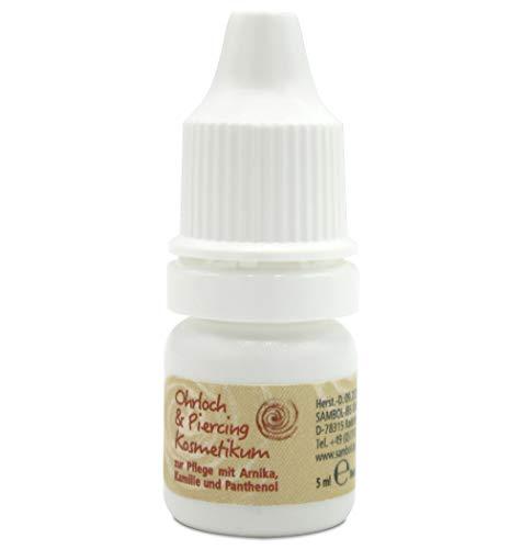 Sambol® Ohrloch & Piercing Kosmetikum | zur sicheren Reinigung und Pflege der empfindlichen Haut | mit Arnika, Kamile und Panthenol | 5ml Flasche (1 Stück)