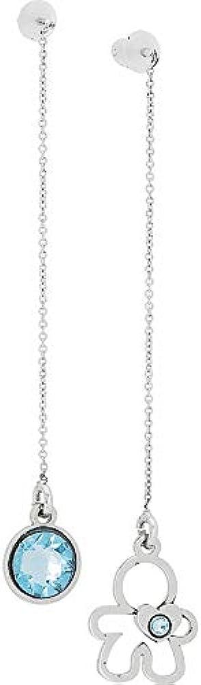 Boccadamo, orecchini per donna,in acciaio rodiato composti da un pendente con cristallo swarovski acquamarina Pi/Or32