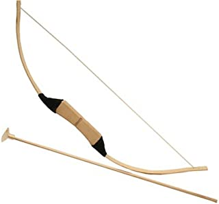Wooden Bow Traditional with 3 Safety Suction Cup Arrows, 25-inch, Kids Child Training Pretend Play Set