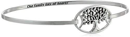 Sterling Silver Tree Catch 'One Family Lots of Hearts' Bangle Bracelet