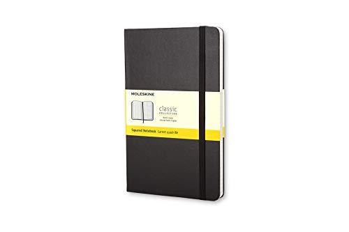 Moleskine - Klassisches Kariertes Notizbuch - Hardcover mit Elastischem Verschlussband - Farbe Schwarz - Größe Pocket 9 x 14 cm - 208 Seiten