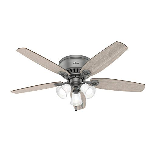 "Hunter Fan Company 51113 Builder Indoor Low Profile Ceiling Fan with LED Light and Pull Chain Control, 52"", Matte Silver"