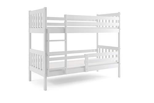 Interbeds Litera CARINO 200 x 90 blanco + base de listones de madera, sin colchones