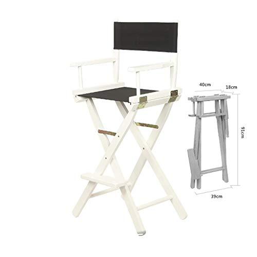 WYJW Executive stoel van massief hout - outdoor bureaustoel met opklapbare stoel en witte rugleuning (kleur: geel) Zwart