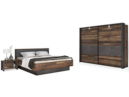moebel-eins Cassia Komplett-Schlafzimmer, Material Dekorspanplatte, Old Wood Vintage/betonfarbig