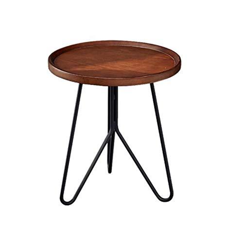 Jcnfa-Mesas Mesa Lateral del sofá Moderno de la manija, la Parte Superior de la Tabla de paletas de Madera Maciza, los pies de Soporte de Metal, 3 Colores (Color : Walnut Color Tray Side Table)