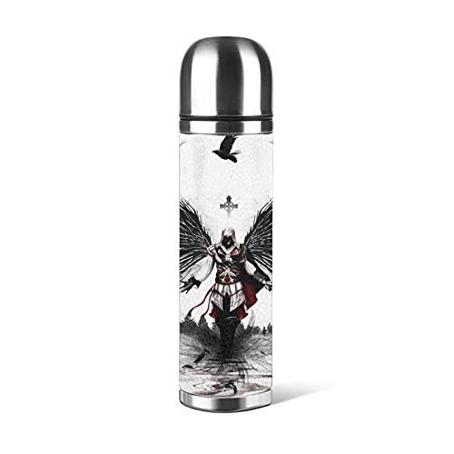 Assassin's Creed Botella de agua de acero inoxidable con aislamiento al vacío, hecha de materiales de grado alimentario, seguro y no tóxico, respetuoso con el medio ambiente y hermoso, 500 ml
