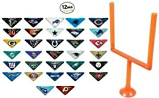 fb 12 Random NFL Tabletops with One Goal Post - Football Fiki Flick It Team Helmet Logo Table Top Chinese Triangle Paper Finger Game - with Instruction Booklet - 2 Sided Team Colors