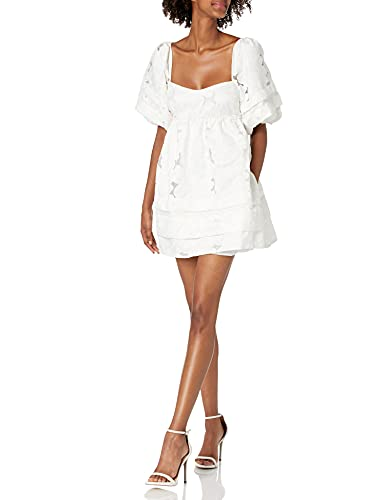 For Love & Lemons Women's Embroidered Organza Mini Dress, Ivory, X-Small