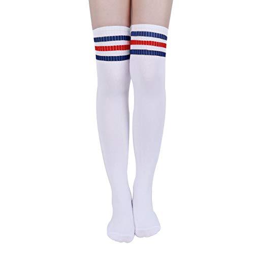 Kodior  Damen Kniestrümpfe - 2/3 Streifen Kniestrümpfe Thigh High Socks Overknee Strümpfe Elastisch Fußball Lange Socken Unisex Sportsocken Baumwollstrümpfe, Einheitsgröße, Blau-rot