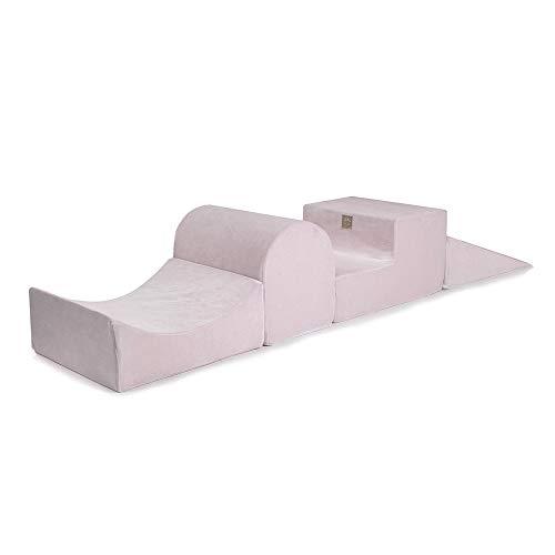 MEOWBABY 145x45cm Parque Infantil con un Kit de Espuma para Niños de 4 Elementos Módulo de Espuma Tapete de Juego Hecho en EU Rosa Claro