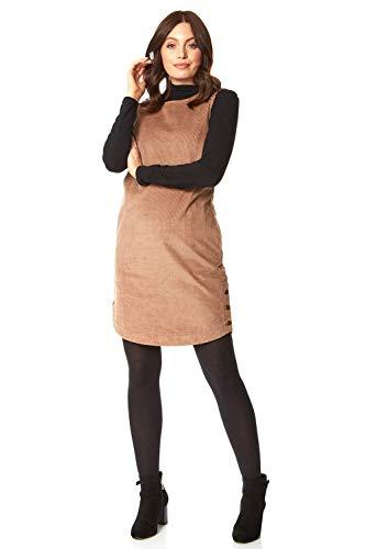 Roman Originals Dames Cord-dragerjurk met knopen - Dames casual elegante jurk met schouderbanden, kantoor, school, formel, knoppen, getextureerd, strepen, ronde hals, mouwloos