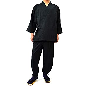 [Made in Japan] Men's Tsumugi Samue 100% Cotton Smooth Texture Ninja Pajamas