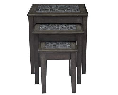 Benzara BM184036 Beistelltisch mit Marmorplatte, Grau, Holz, 3 Stück