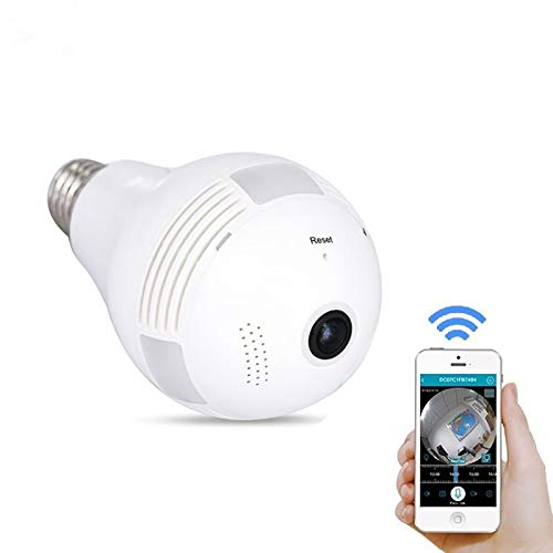 Bombilla De Cámara Oculta IP WiFi De Ojo De Pez Gran Angular De 360 °, Luz LED 1080P HD Cámara De Seguridad Espía para Interiores para Android iOS App Cámara De Visión Remota