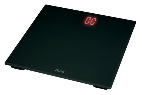 American Weigh Scales ZT-150-BK Digital Glass Top Bathroom Scale with Red...