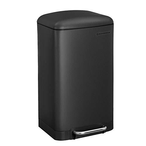 SONGMICS Mülleimer, 30 Liter Abfalleimer, Treteimer aus Stahl, mit Inneneimer und Deckel, Softclose, luftdicht, für die Küche, schwarz LTB01BK