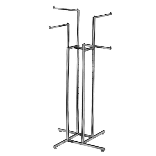 Clothing Rack – Heavy Duty Chrome 4 Way Rack, Adjustable...