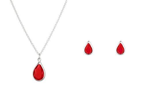 Córdoba Jewels |Conjunto de Gargantilla y Pendientes en Plata de Ley 925 con Piedra semipreciosa con diseño Lágrima Rubí