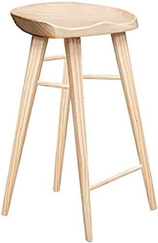 Mscxj Taburete de bar taburete de bar de madera maciza, taburete alto, silla de comedor, troncos, silla de negocios, silla de oficina, banco, desayuno (tamaño: altura 65 cm)