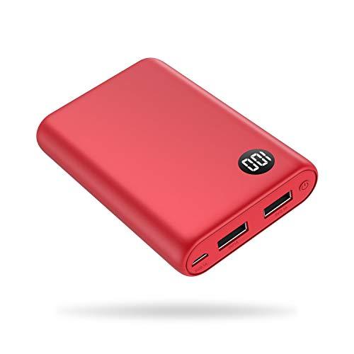 kilponen Batería Externa 13800mAh Power Bank Cargador Móvil Portátil Ultra Compacto 2 Salidas USB con Ultra Alta Capacidad para Huawei,Xiaomi Smartphones/Tablets Android y Más (Roja)