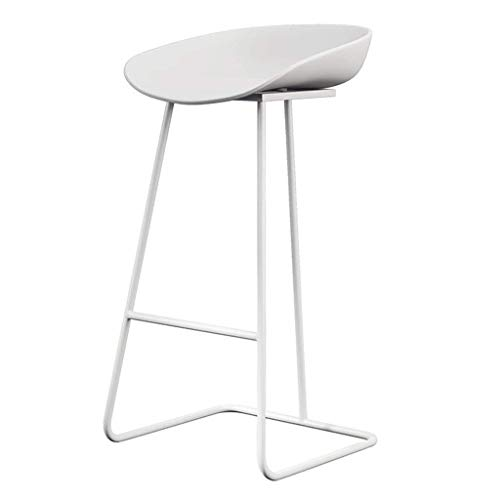 BDLYZ Yxsd - Taburete de bar para sillas de comedor, diseño de sillas de bar altas, creativo y sencillo, cojín de plástico (color: blanco, tamaño: 75 cm)