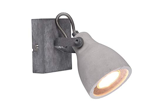 Retro Wandstrahler Lampenschirm aus Beton 1 Spot schwenkbar mit GU10 LED - Wandbeleuchtung im Industrielook