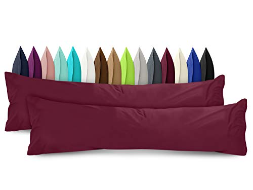 npluseins 2er Pack Baumwoll Kissenbezug - Jersey - viele Farben 1331.1812, ca. 40 x 145 cm, Bordeaux