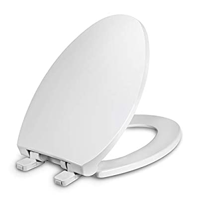 Round Toilet Seats with Cover, Slow Close Lid and seat, Made of Antibacterial Plastic, Quiet Close, White
