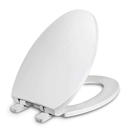 Elongated Toilet Seat with Cover, Slow Close, Easy to Install, Plastic, White, Suitable to Elongated or Oval Toilets