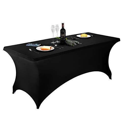 Spandex Table Cover 6 ft, Pack of 1, Fitted Polyester Tablecloth Stretch Spandex Table Cover (6ftX1PC, Black)