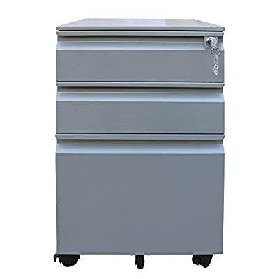 GREATMEET 3 Drawers Metal File Cabinet,Steel Filing Cabinet with Lock,Mobile Steel File Cabinet, for Legal A4 F4, Full Assembled(White)