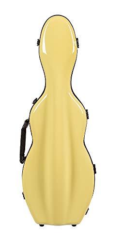 Tonareli Shaped Fiberglass Violin Case - Yellow 4/4 VNF1006