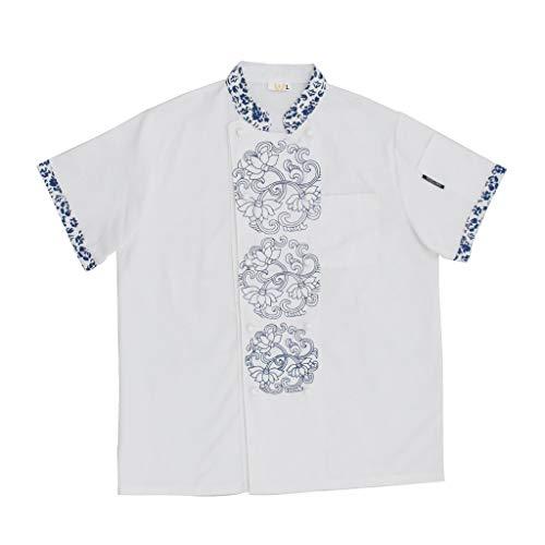 KESOTO Abbigliamento Per Camicie Da Lavoro Per Camicie Da Cuoco A Maniche Corte Da Ristorante Cinese Antico - bianca, L