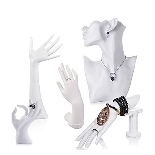 Soporte exhibición la joyería 5 unids joyería exhibición rack resina media cara mujeres maniquí cabeza y mano pantalla collar pendiente maniquí cabezal busto conjunto de exhibición conjunto de acces