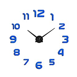 2019 3D Big Size Wall Clock Mirror Sticker DIY Wall Clocks Home Decoration Wall Clock Meeting Room,Blue,47 Inch