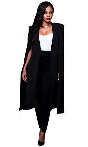 Womens Classic Long Sleeve Open Front Poncho Cape Cloak Blazer Jacket Coats Black S