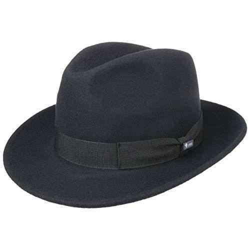 Lipodo Sombrero de Fieltro Basic Bogart Mujer/Hombre - Made in Italy Fedora Lana con Banda Grosgrain Verano/Invierno - S (54-55 cm) Azul Oscuro